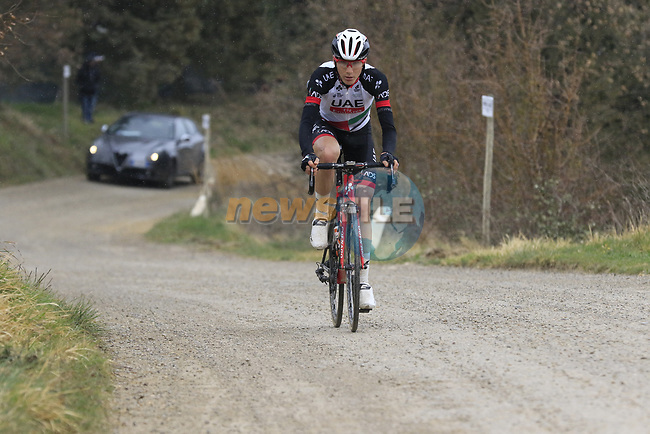 Edward Ravasi (ITA) UAE Abu Dhabi on gravel sector 6 Pieve a Salti during the 2017 Strade Bianche running 175km from Siena to Siena, Tuscany, Italy 4th March 2017.<br /> Picture: Eoin Clarke | Newsfile<br /> <br /> <br /> All photos usage must carry mandatory copyright credit (&copy; Newsfile | Eoin Clarke)