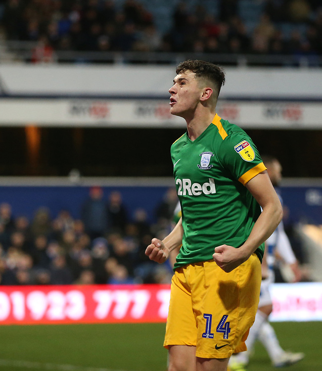 Preston North End's Jordan Storey celebrates scoring his side's second goal <br /> <br /> Photographer Rob Newell/CameraSport<br /> <br /> The EFL Sky Bet Championship - Queens Park Rangers v Preston North End - Saturday 19 January 2019 - Loftus Road - London<br /> <br /> World Copyright © 2019 CameraSport. All rights reserved. 43 Linden Ave. Countesthorpe. Leicester. England. LE8 5PG - Tel: +44 (0) 116 277 4147 - admin@camerasport.com - www.camerasport.com