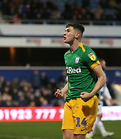 Preston North End's Jordan Storey celebrates scoring his side's second goal <br /> <br /> Photographer Rob Newell/CameraSport<br /> <br /> The EFL Sky Bet Championship - Queens Park Rangers v Preston North End - Saturday 19 January 2019 - Loftus Road - London<br /> <br /> World Copyright &copy; 2019 CameraSport. All rights reserved. 43 Linden Ave. Countesthorpe. Leicester. England. LE8 5PG - Tel: +44 (0) 116 277 4147 - admin@camerasport.com - www.camerasport.com