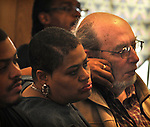Close up of members of the audience attending, Kingston's 2nd Juneteenth Celebration, sponsored by the Kingston Chapter of ENJAN (End the New Jim Crow Action Network) and New Progressive Baptist Church, and held at the church in Kingston on Saturday, June 14, 2014. Photo by Jim Peppler. Copyright Jim Peppler 2014 all rights reserved.