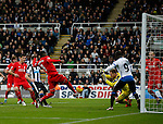 Christian Benteke of Liverpool sends the ball over the bar from 5 yards out - English Premier League - Newcastle Utd vs Liverpool - St James' Park Stadium - Newcastle Upon Tyne - England - 6th December 2015 - Picture Simon Bellis/Sportimage