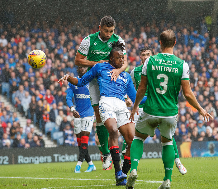 11.08.2019 Rangers v Hibs: Darren McGregor and Joe Aribo