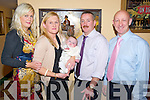 Baby Luke Martin Brennan, Killarney, pictured with his parents Linda and Andy and godparents Sarah Clifford and Mick Kealy as his christening celebration in the Old Killarney Inn, Aghadoe on Saturday night.