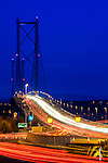 The Forth Road Bridge traffic at dawn