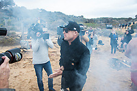 BELLS BEACH,  Torquay, Victoria AUS (Tuesday, March 27, 2018)  Mick Fanning (AUS during the traditional Aboringinal landowners Smoking Ceremony as part of the opening ceremony for the Rip Curl Pro. - The second stop on the World Surf League (WSL) Championship Tour (CT) starts tomorrow with the annual Rip Curl Pro Bells Beach competition celebrating its 57th year. As is tradition, the event will run from March 28 to April 8, over the Easter Weekend at one of the world&rsquo;s most iconic surfing locations. <br /> <br /> This year&rsquo;s event will be bittersweet as it will be the last CT event the three-time WSL Champion, Mick Fanning (AUS), will compete in as a full time CT competitor. The four-time event winner will look to end his competitive career the way that it started in 2001, with a win at the Rip Curl Pro Bells Beach ringing the coveted Bell. Fanning will match-up with Sebastian Zietz (HAW) and 2018 CT Rookie Jesse Mendes (BRA) in Round 1 Heat 12 when the competition gets underway. <br /> <br /> Photo: joliphotos.com