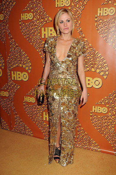 ANNA PAQUIN .HBO's 2010 67th Golden Globe Awards Post Party held at the Beverly Hilton Hotel, Beverly Hills, California, USA..January 17th, 2009.globes full length dress black gold sequins sequined maxi plunging neckline clutch bag mesh sandals shoes  slit split.CAP/ADM/BP.©Byron Purvis/Admedia/Capital Pictures