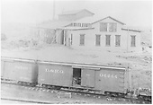 View of D&amp;RG Alamosa shop with new addition.  Good photo of outfit box car #04444.<br /> D&amp;RG  Alamosa, CO  Taken by Davis, O. T. - ca. 1892