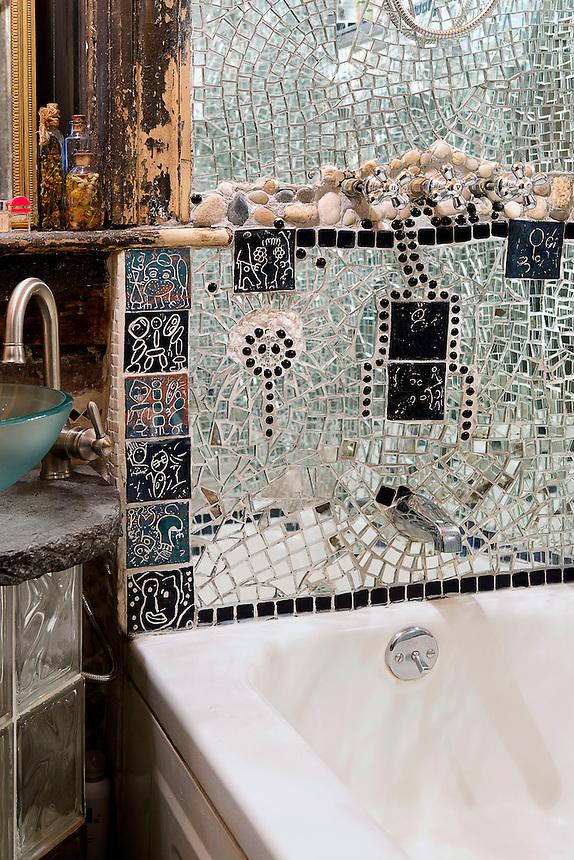 Mirror mosaic in bathroom
