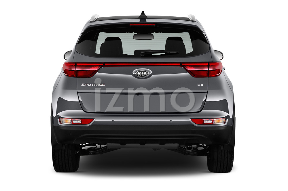Straight rear view of 2018 KIA Sportage EX 5 Door SUV Rear View  stock images