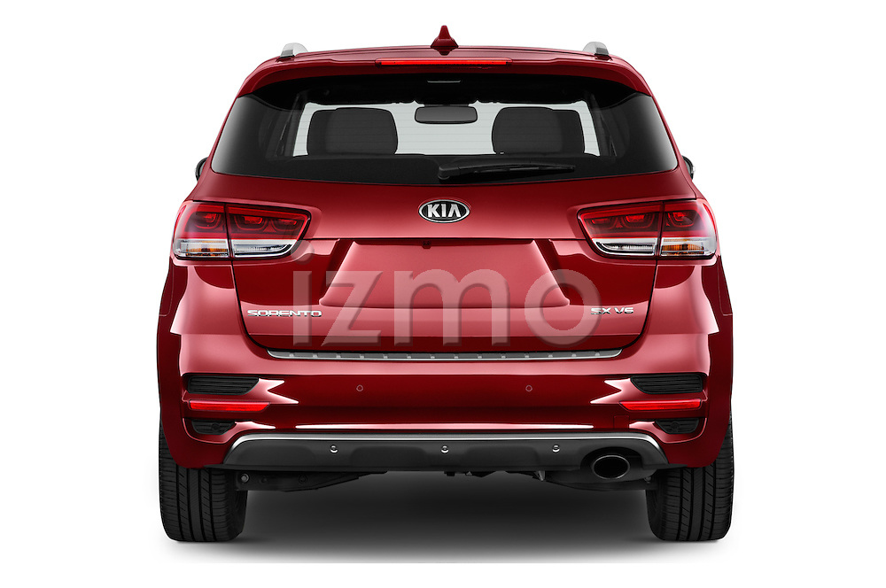 Straight rear view of 2017 KIA Sorento SX V6 AT 4WD 5 Door SUV Rear View  stock images