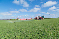 Spraying winter barley with fungicide - Suffolk, April