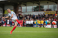 Taylor Moore (Bristol City) of England penalty miss gives Brazil the Penalty shootout win following there 2-1 match victory during the International match between England U20 and Brazil U20 at the Aggborough Stadium, Kidderminster, England on 4 September 2016. Photo by Andy Rowland / PRiME Media Images.
