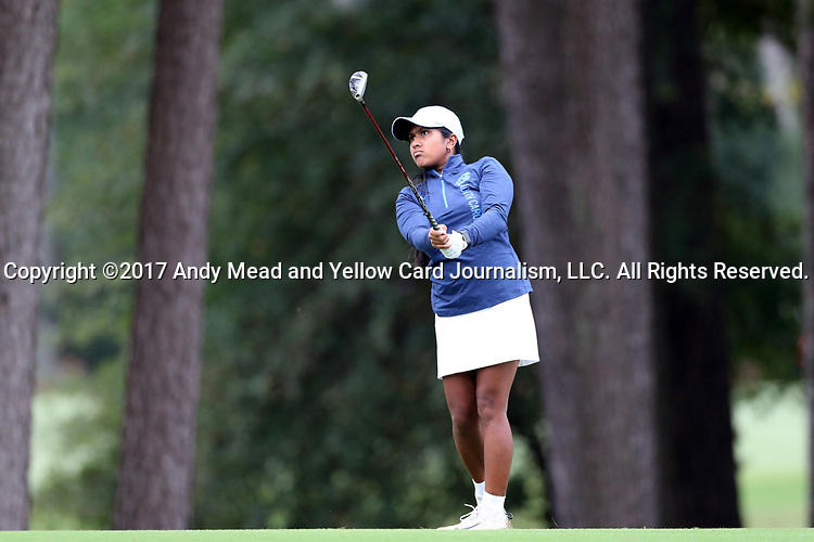 CHAPEL HILL, NC - OCTOBER 15: North Carolina's Roshnee Sharma in the 1st fairway. The third and final round of the Ruth's Chris Tar Heel Invitational Women's Golf Tournament was held on October 15, 2017, at the UNC Finley Golf Course in Chapel Hill, NC.