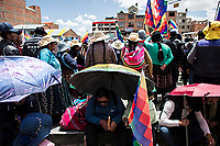 El Alto, Bolivia<br /> Saturday November 16, 2019.<br /> Neighbors from El Alto participate during a meeting of a few thousand citizens from the city of El Alto and the Altiplano region hold a meeting requesting the resignation of the new Bolivian President Jeanine Añez.  After the October 20 presidential elections and resignation of President Evo Morales, there is a lot of protests in many regions of Bolivia.  El Alto is one of the largest cities with a big population of Aymara people.
