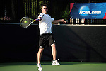 26 MAY 2011: Wes Waterman of Amherst celebrates returns a volley during the Division III Men's Tennis Championship held at the Biszantz Family Tennis Center and Pauley Tennis Complex in Claremont, CA. Amherst defeated Emory 5-2 for the national title. Stephen Nowland/NCAA Photos