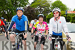 Thomas Harrington, Brenda Cosgrave and Corina O'Mahony at the Kerry Emergency Services 75km Cycle in aid of Alzeimhers and South West Counselling starting at the Tralee Town Park on Saturday