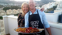 Pictured: Kay Longstaff (L) with her partner Craig.<br /> Re: A British woman has survived after falling from a cruise ship off the coast of Croatia.<br /> 46-year-old Kay Longstaff was rescued 10 hours after falling into the Adriatic Sea - 60 miles offshore - around midnight on Saturday.<br /> She was then taken to hospital in the town of Pula an ambulance.