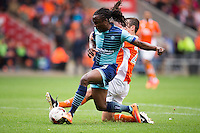 Marcus Bean of Wycombe Wanderers has a shot during the Sky Bet League 2 match between Blackpool and Wycombe Wanderers at Bloomfield Road, Blackpool, England on 20 August 2016. Photo by James Williamson / PRiME Media Images.