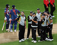 The Black Caps wait for a third umpire decision during 2nd Twenty20 cricket match match between New Zealand Black Caps and West Indies at Westpac Stadium, Wellington, New Zealand on Friday, 27 February 2009. Photo: Dave Lintott / lintottphoto.co.nz