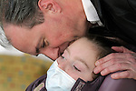Immediately after learning that his daughter Sandra Massart had accepted his stem cells, William Massart kisses Sandra, 10, at Duke University Hospital in Durham, NC, USA, on Tuesday, Feb. 14, 2012.  Sandra Massart is being treated for MLD, a degenerative condition.  Photo by Ted Richardson