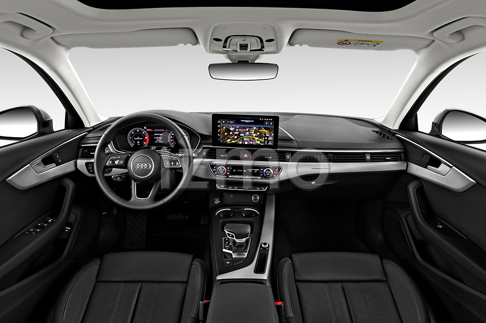 Stock photo of straight dashboard view of a 2020 Audi A4-Allord Base 5 Door Wagon