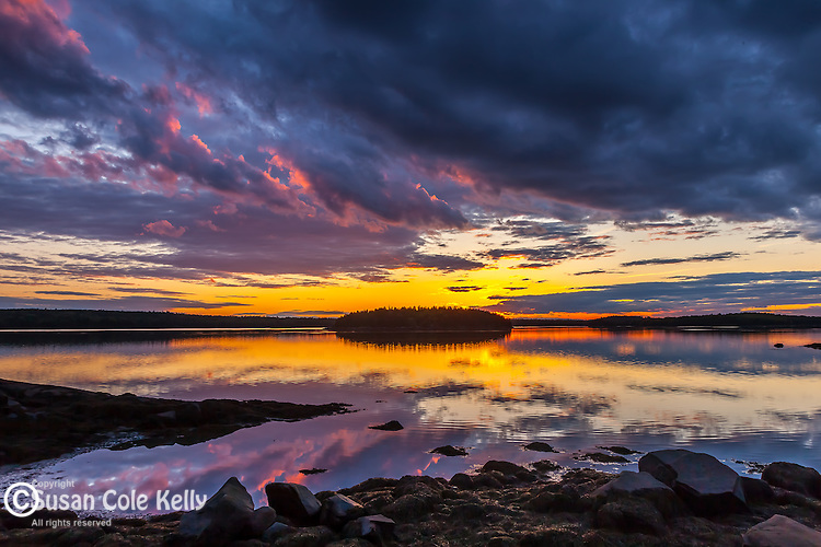 Sunset on Taunton Bay in Sullivan, Downeast, ME, USA