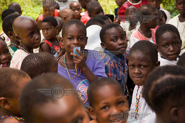 Children from the offshore islands  of Lake Victoria attend a monthly Mildmay HIV/AIDS day at Kalangala, for screening, testing and educational fun. Mildmay is an international HIV/AIDS charity, specialising in care, training and service development within this field.