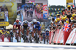 Fernando Gaviria (COL) Quick-Step Floors outsprints World Champion Peter Sagan (SVK) Bora-Hansgrohe and Marcel Kittel (GER) Katusha-Alpecin to win Stage 1 of the 2018 Tour de France running 201km from Noirmoutier-en-l&rsquo;&Icirc;le to Fontenay-le-Comte, France. 7th July 2018. <br /> Picture: ASO/Pauline Ballet | Cyclefile<br /> All photos usage must carry mandatory copyright credit (&copy; Cyclefile | ASO/Pauline Ballet)