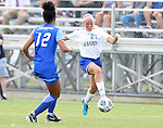 BROOKINGS, SD - SEPTEMBER 4:  Tori Poole #21 from South Dakota State controls the ball in front of Jaylin Bosak #12 from Creighton during their match Sunday afternoon at Fischback Soccer Complex in Brookings. (Photo by Dave Eggen/Inertia)