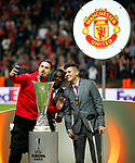 Zlatan Ibrahimovic of Manchester United takes a selfie with the trophy after the UEFA Europa League Final match at the Friends Arena, Stockholm. Picture date: May 24th, 2017.Picture credit should read: Matt McNulty/Sportimage