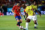 Pedro Rodriguez of Spain competes for the ball with Pablo Armero of Colombia  during the friendly match between Spain and Colombia at Nueva Condomina Stadium in Murcia, jun 07, 2017. Spain. (ALTERPHOTOS/Rodrigo Jimenez)