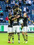 Solna 2015-07-12 Fotboll Allsvenskan AIK - GIF Sundsvall :  <br /> AIK:s Henok Goitom firar sitt 1-1 m&aring;l med Mohamed Bangura , Niclas Eliasson och Kenny Pavey under matchen mellan AIK och GIF Sundsvall <br /> (Foto: Kenta J&ouml;nsson) Nyckelord:  AIK Gnaget Friends Arena Allsvenskan GIF Sundsvall Giffarna jubel gl&auml;dje lycka glad happy