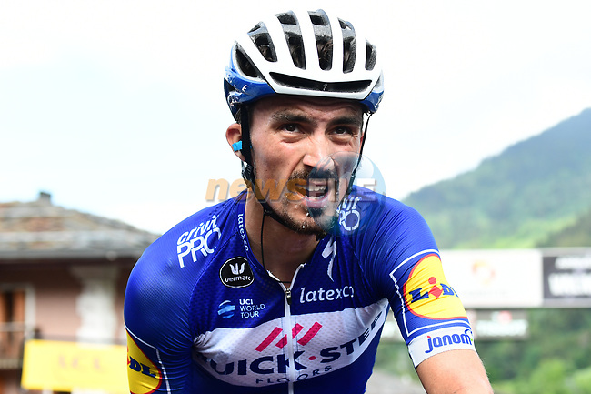 Julian Alaphilippe (FRA) Quick-Step Floors crosses the finish line at the end of Stage 5 of the 2018 Criterium du Dauphine 2018 running 130km from Grenoble to Valmorel, France. 8th June 2018.<br /> Picture: ASO/Alex Broadway | Cyclefile<br /> <br /> <br /> All photos usage must carry mandatory copyright credit (© Cyclefile | ASO/Alex Broadway)