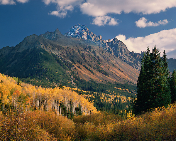 Mount Sneffels (14,150 Feet) with Aspen trees, Telluride, Colorado, USA. John offers autumn photo tours throughout Colorado.