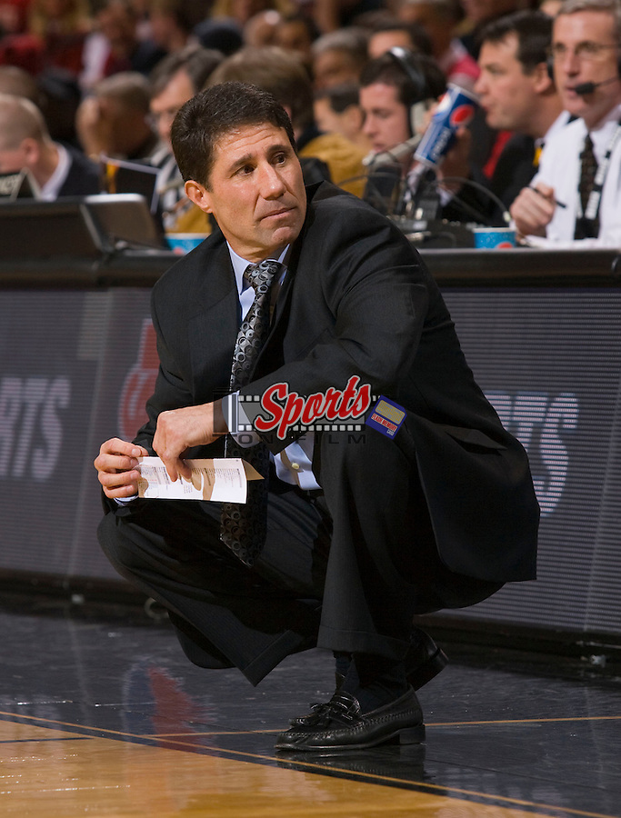 Wake Forest Demon Deacons head coach Dino Gaudio on the sidelines during second half action against the North Carolina State Wolfpack at the Lawrence Joel Veterans Memorial Coliseum December 20, 2009, in Winston-Salem, North Carolina.  The Demon Deacons defeated the Wolfpack 67-59.  Photo by Brian Westerholt / Sports On Film