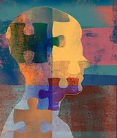 Jigsaw puzzle pieces over man's profile