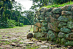 Restored roadway and wall at the Guayabo National Monument and Park.  The pre-Columbian site was declared a national monument in 1973 and is the largest and most important archeological site in Costa Rica.
