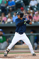 Shortstop Andres Gimenez (13) of the Columbia Fireflies bats in a game against the Lexington Legends on Thursday, June 8, 2017, at Spirit Communications Park in Columbia, South Carolina. Columbia won, 8-0. (Tom Priddy/Four Seam Images)