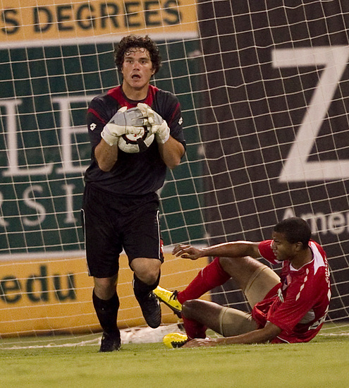 SEPTEMBER 16, 2010; TAMPA, FLORIDA: Goalkeeper Josh Lambo #19 of the FC Tampa Bay Rowdies during a game against the Austin Aztex at Steinbrenner Field in Tampa, Florida. The teams tied 1-1. Photo by Matt May/FC Tampa Bay Rowdies
