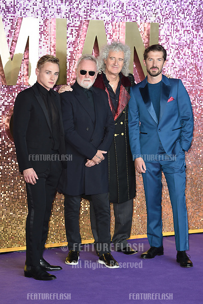 "LONDON, UK. October 23, 2018: Ben Hardy, Roger Taylor, Brian May & Gwilyn Lee at the world premiere of ""Bohemian Rhapsody"" at Wembley Arena, London.<br /> Picture: Steve Vas/Featureflash"