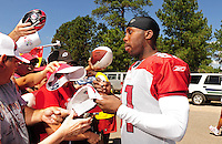 Jul 31, 2009; Flagstaff, AZ, USA; Arizona Cardinals wide receiver Anquan Boldin (81) signs autographs during training camp on the campus of Northern Arizona University. Mandatory Credit: Mark J. Rebilas-