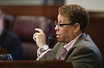 Nevada Sen. Patricia Spearman, D-Las Vegas, works on the Senate floor at the Legislative Building in Carson City, Nev., on Friday, Dec. 18, 2015. Lawmakers are working in a special Legislative session to consider an economic development deal between the state and Faraday Future. <br /> Photo by Cathleen Allison