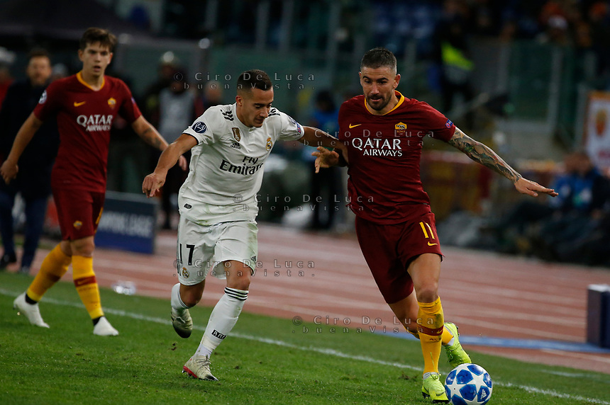 Aleksandar Kolarov of AS Roma  and Lucas Vazquez of Real Madrid  during the Champions League Group  soccer match between AS Roma - Real Madrid  at the Stadio Olimpico in Rome Italy 27 November 2018