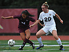 Isabelle Glennon #20 of Shore, right, and Julia Choi #24 of Garden City battle for possession during a Nassau County varsity girls soccer match at North Shore High School on Monday, Sept. 18, 2017. North Shore won by a score of 2-1.