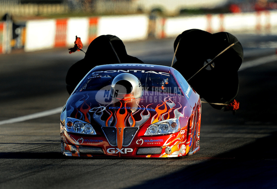Sept. 4, 2010; Clermont, IN, USA; NHRA pro stock driver Justin Humphreys during qualifying for the U.S. Nationals at O'Reilly Raceway Park at Indianapolis. Mandatory Credit: Mark J. Rebilas-