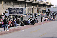 Pictured: Hundreds of migrants at the port Friday 26 February 2016<br />