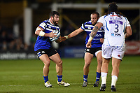 Nathan Catt of Bath Rugby in possession. Gallagher Premiership match, between Bath Rugby and Exeter Chiefs on October 5, 2018 at the Recreation Ground in Bath, England. Photo by: Patrick Khachfe / Onside Images