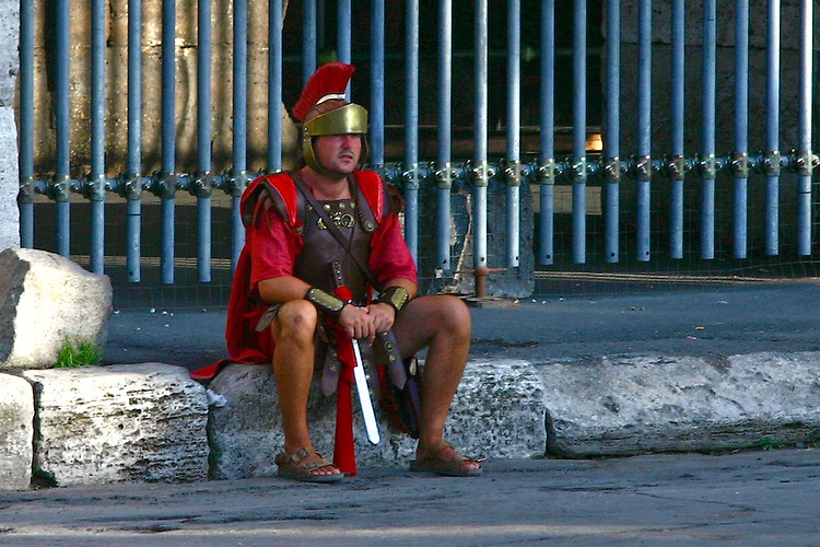 Resting after a hard day at work.Centurion at the Roman Colosseum