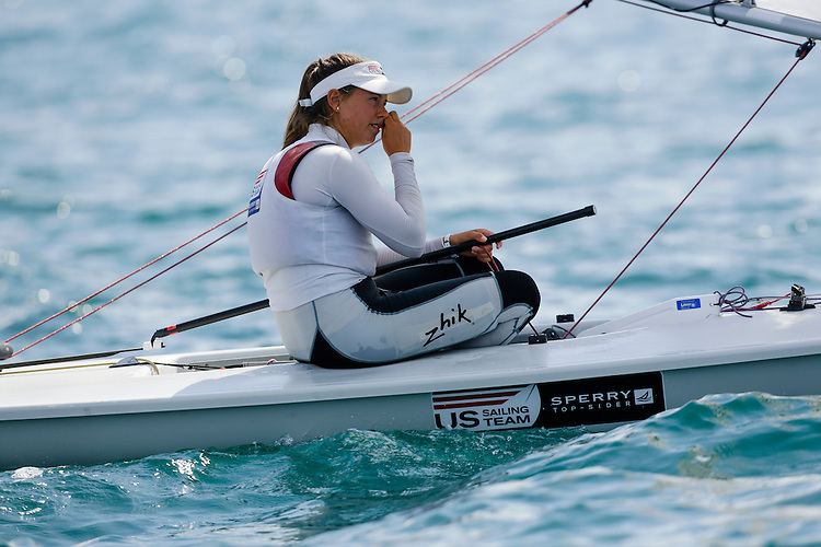 SANTANDER, SPAIN - SEPTEMBER 14:  Laser Radial - USA184454 - Erika REINEKE in action during Day 3 of the 2014 ISAF Sailing World Championships on September 14, 2014 in Santander, Spain.  (Photo by MickAnderson/SAILINGPIX via Getty Images)