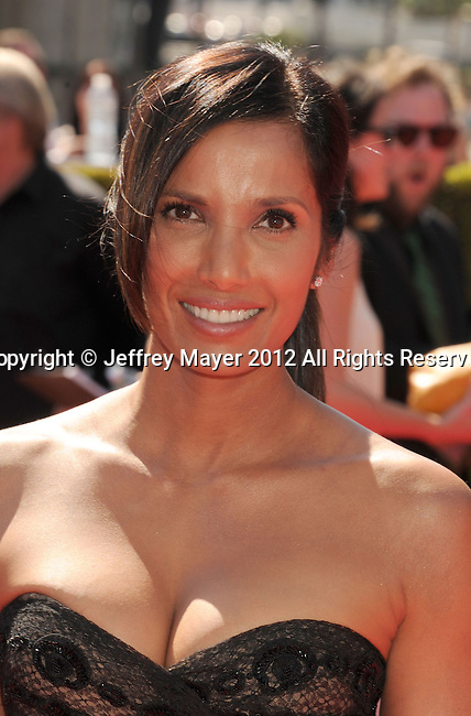 LOS ANGELES, CA - SEPTEMBER 15: Padma Lakshmi arrives at the 2012 Primetime Creative Arts Emmy Awards at Nokia Theatre L.A. Live on September 15, 2012 in Los Angeles, California.